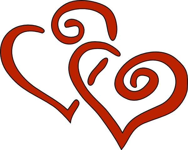 Red Curly Hearts clip art Free vector in Open office drawing svg.