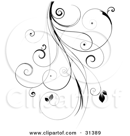 Clipart Illustration of a Black Intricate Curly Vine With Leaves.