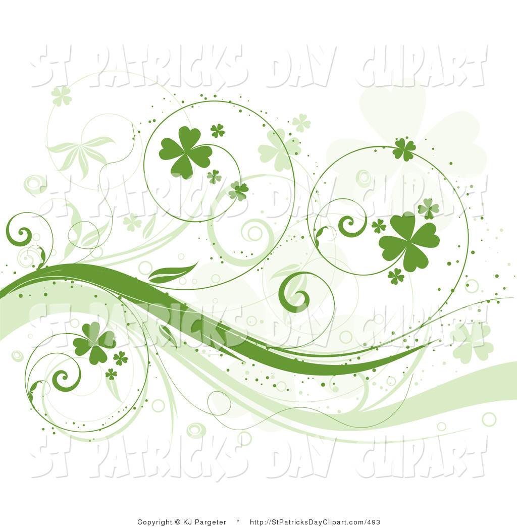 Clip Art of a Curly Green Vine with Clovers, over a White.