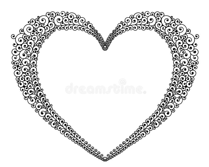 Curly Heart Outline Stock Illustrations.