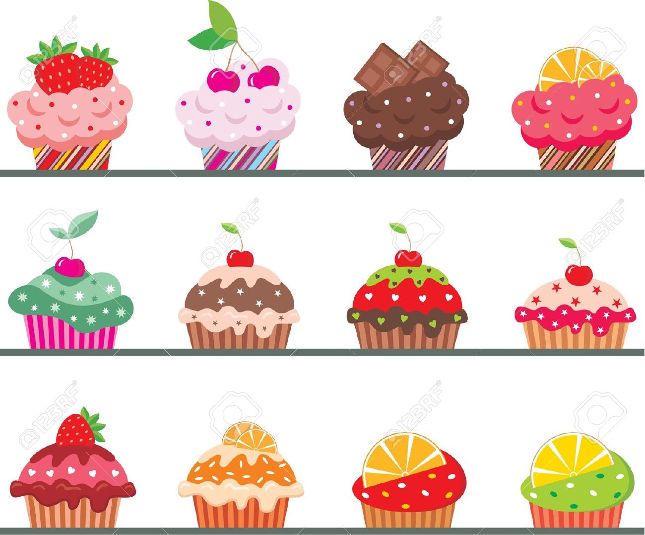 Cupcakes On A Regiment Royalty Free Cliparts, Vectors, And Stock.