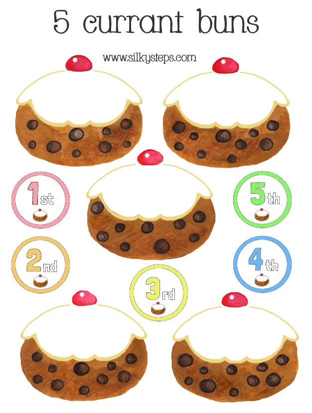 5 Five currant buns FREE printable number rhyme play props.