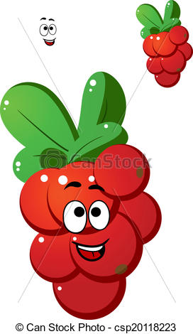 Vector Illustration of Red currant berries in cartoon style with.