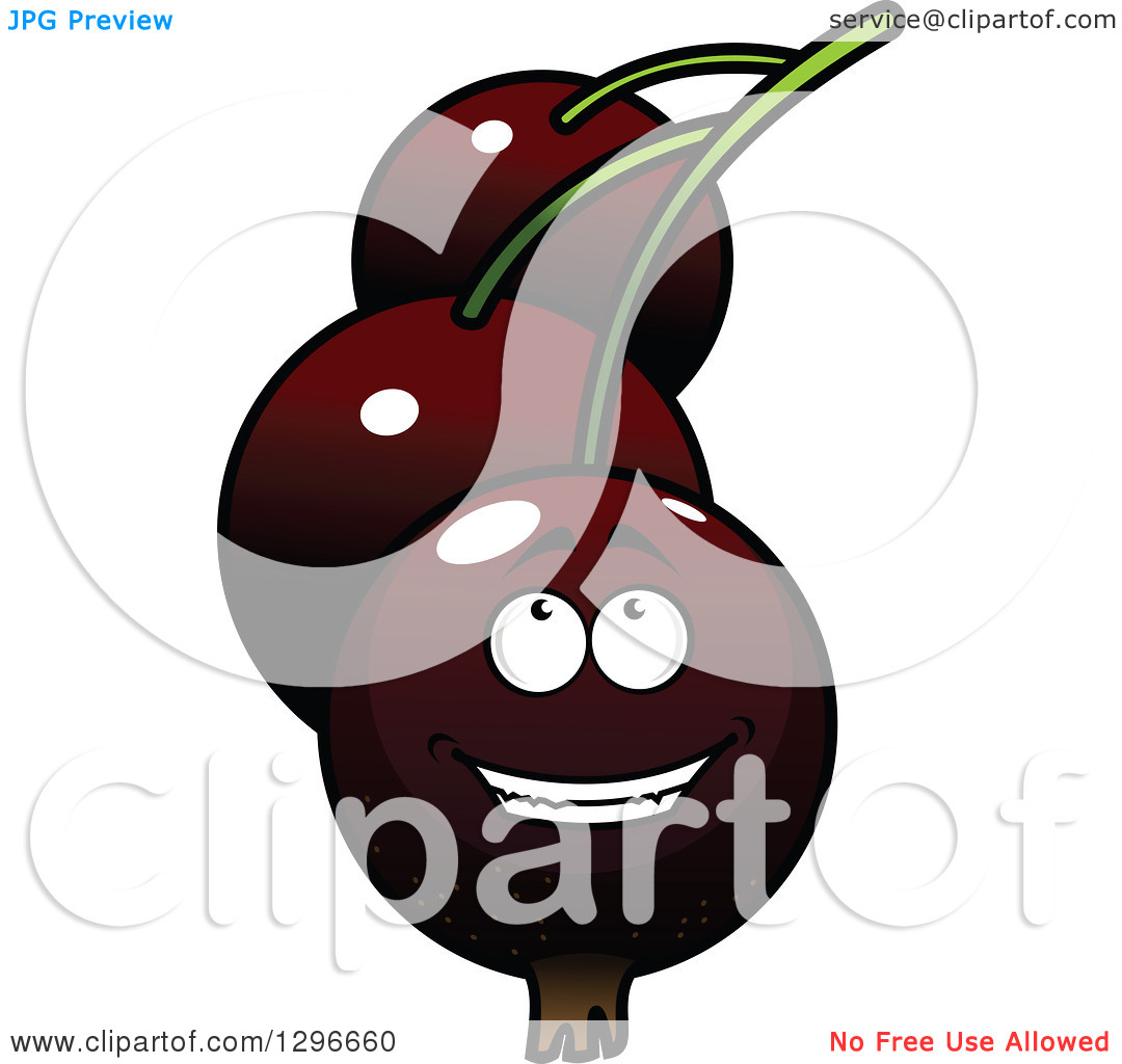 Clipart of a Cartoon Happy Currants Character Looking up.