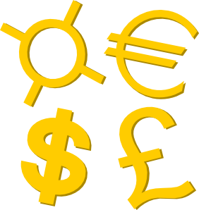 Clipart currency symbols.