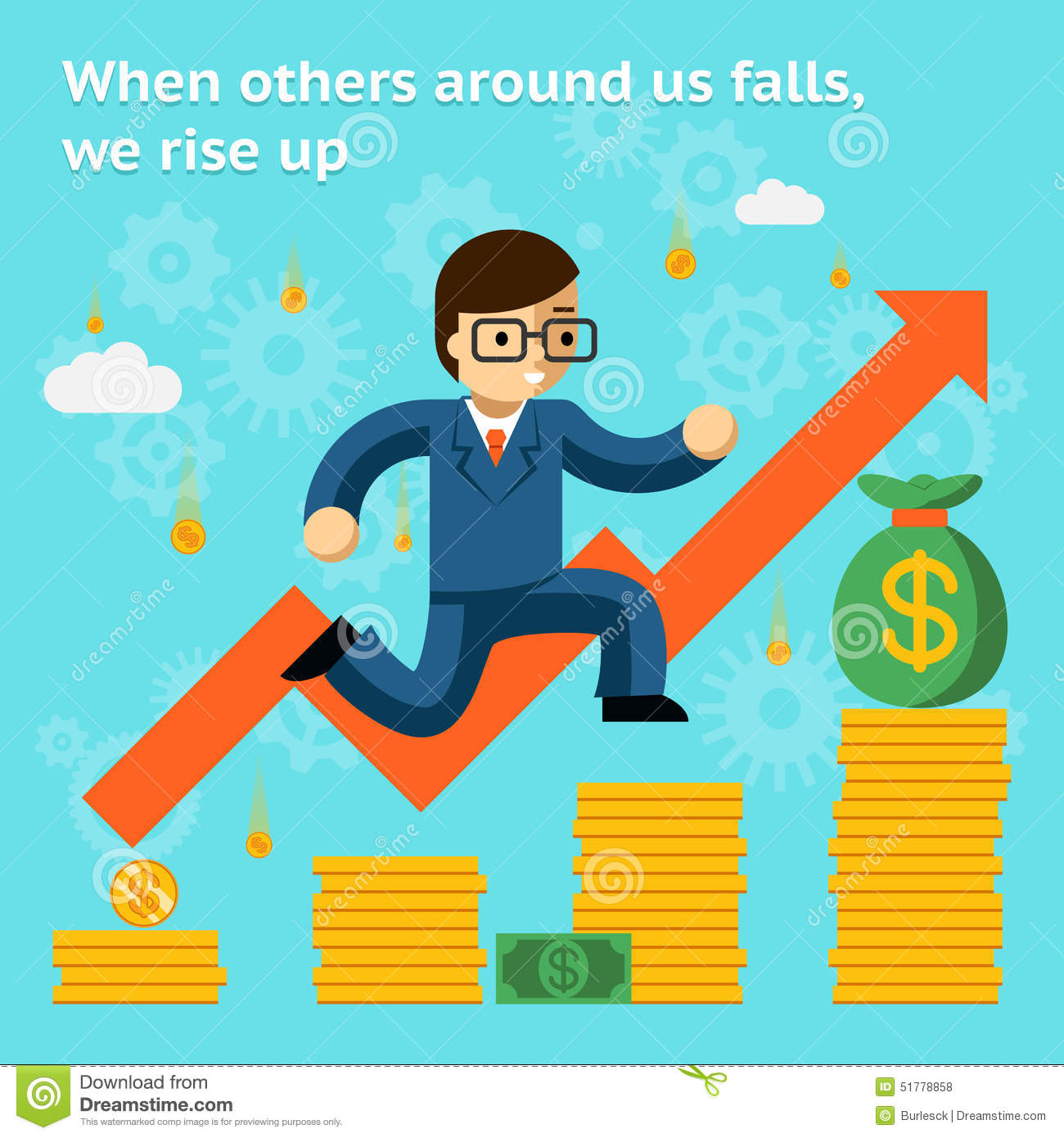Growing Business In Financial Crisis Concept. When Stock Vector.