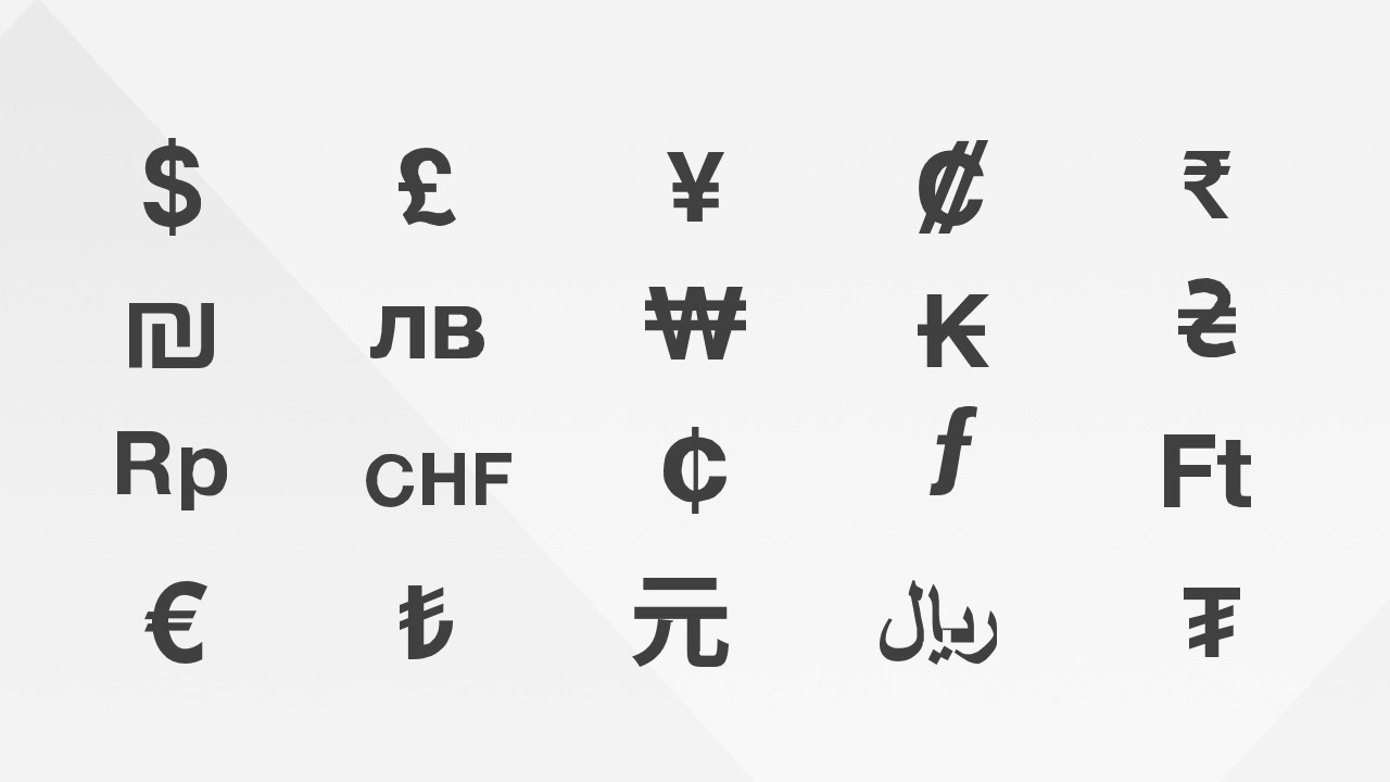 Currency Symbols PowerPoint Icons.