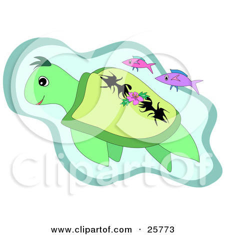 Clipart Illustration of a Group Of Fish Swimming In A Current.