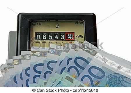 Stock Photography of electric current meter with many euro to be.