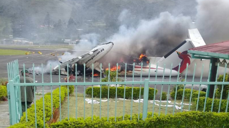 Plane, governor's house torched in PNG violence.
