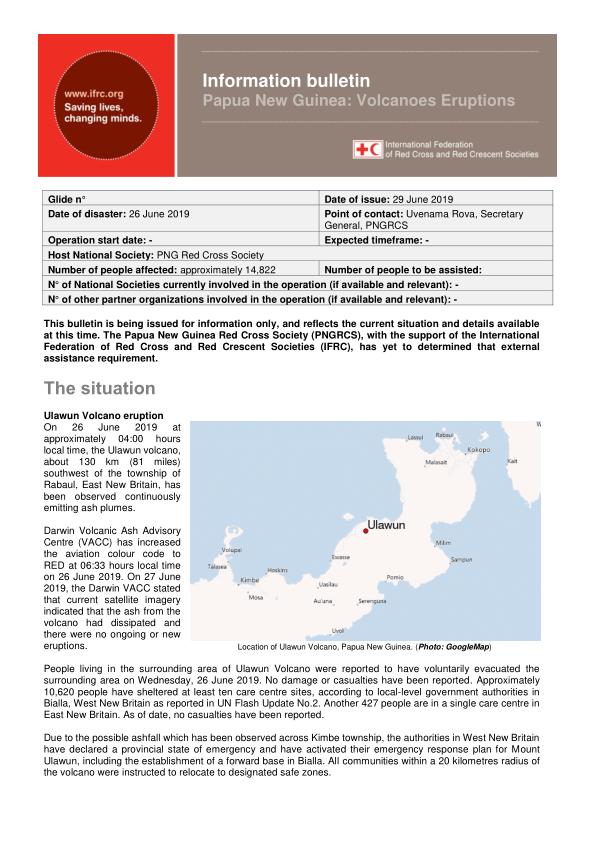 Papua New Guinea: Volcanoes Eruptions Information bulletin.