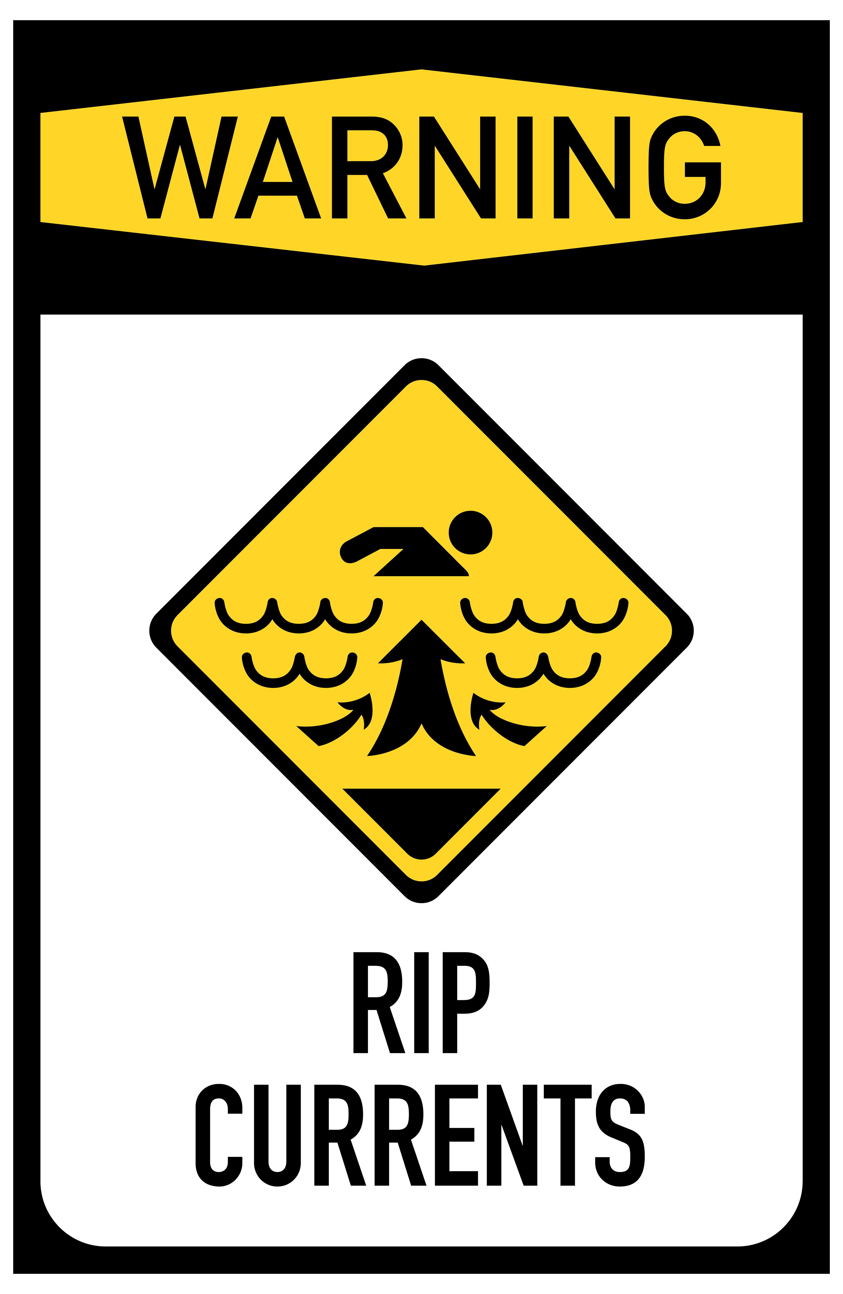 RIP Currents Sign PNG Clip Art.