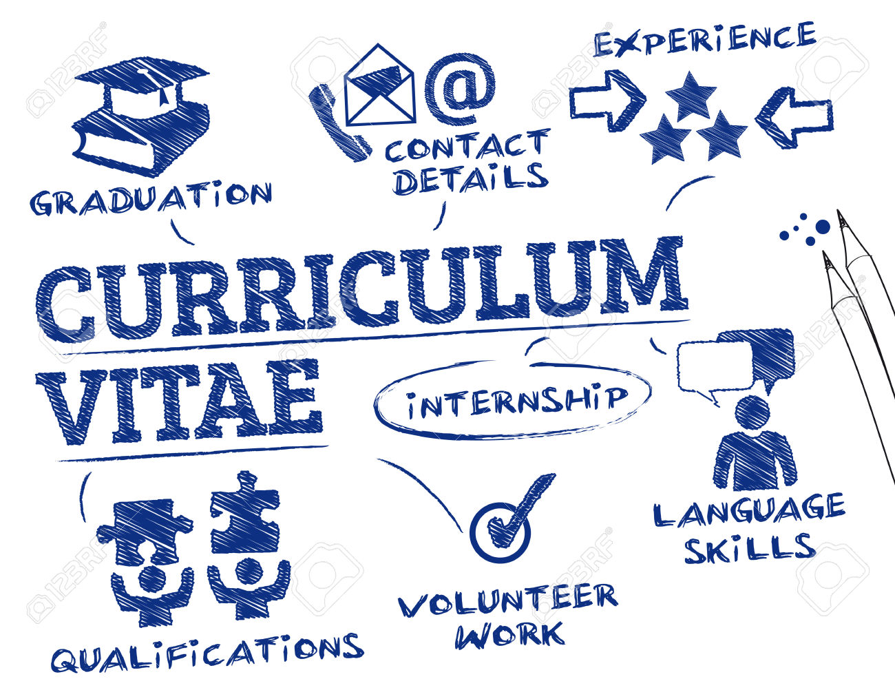 Curriculum Vitae Concept. Chart With Keywords And Icons Royalty.