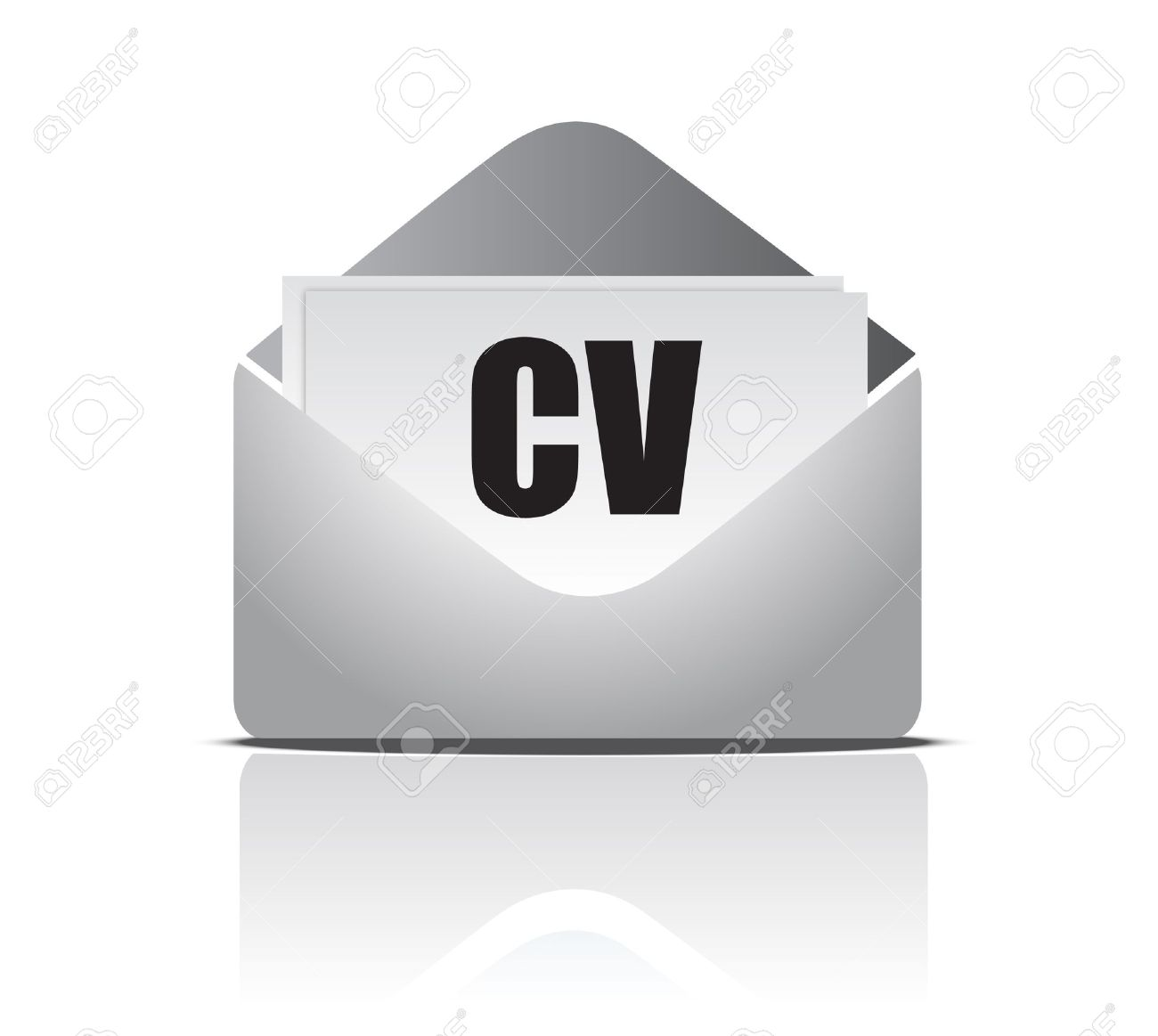 Curriculum Vitae (resume) Opened Envelope Concept Royalty Free.