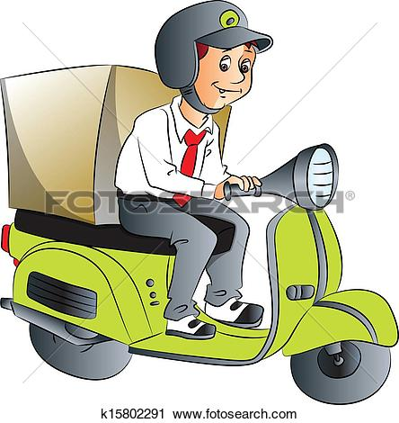 Clipart of Fast pizza delivery man k10450555.