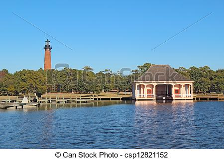 Stock Images of The red brick structure of the Currituck Beach.