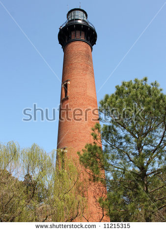 Currituck Beach Lighthouse Corolla Outer Banks Stock Photo.