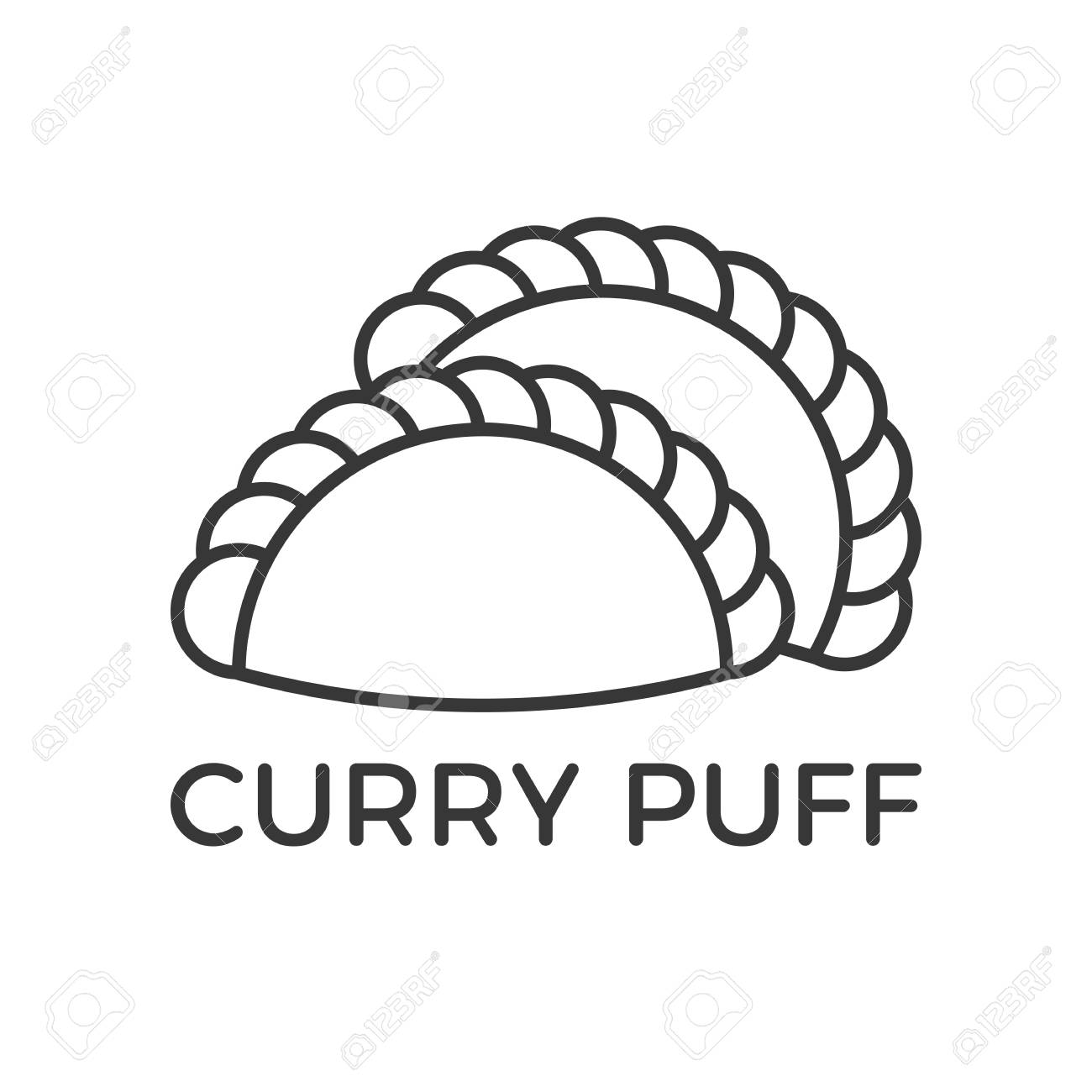 outline icon for use as pastry sign and logo such as curry puff.