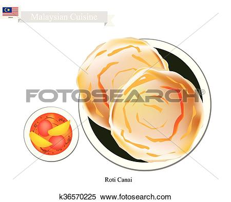 Clipart of Roti Canai or Malaysian Flat Bread with Curry Sauce.