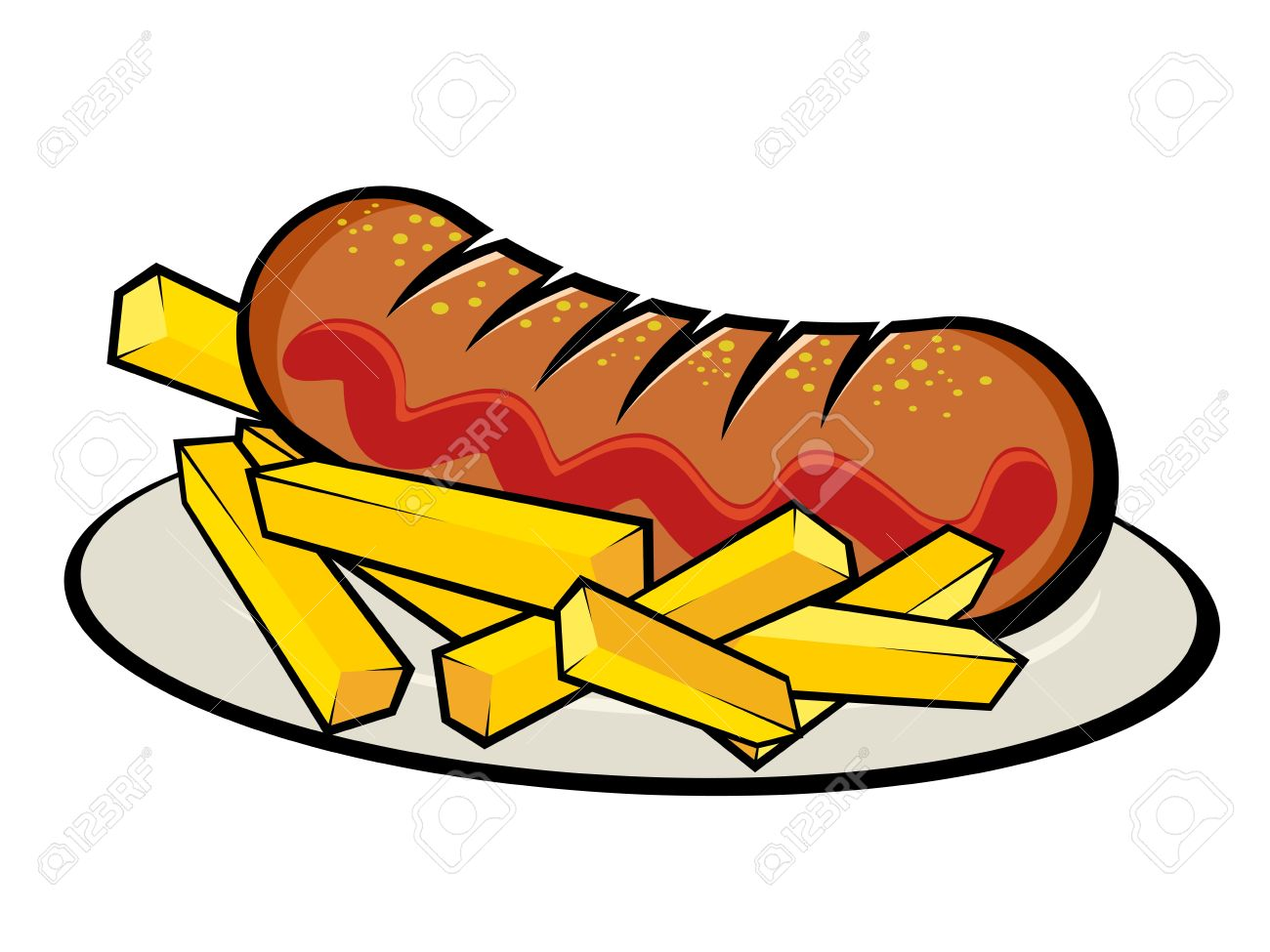 Illustration Of A German Currywurst With French Fries Royalty Free.