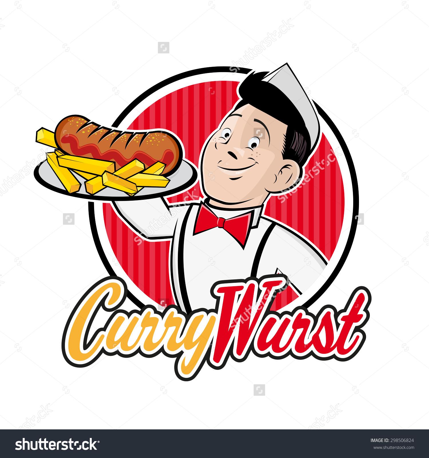 Retro Cartoon Man German Currywurst Badge Stock Vector 298506824.