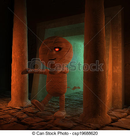 Clip Art of Cursed 3d Egyptian mummy.