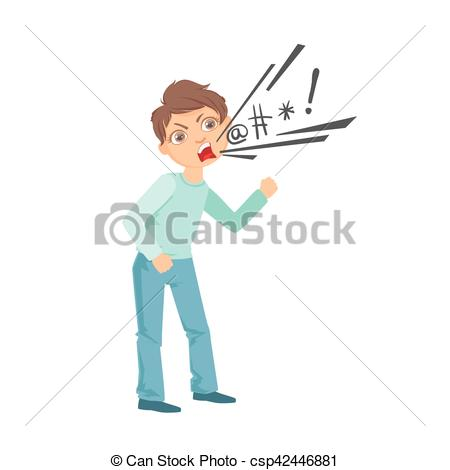 Boy Cursing Teenage Bully Demonstrating Mischievous Uncontrollable  Delinquent Behavior Cartoon Illustration.