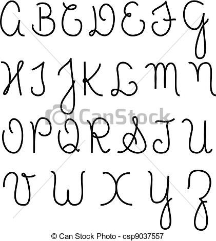 Vectors Illustration of Cursive alphabet capital letters.