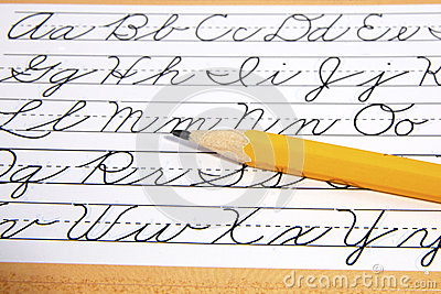 Learning Cursive Writing Royalty Free Stock Images.