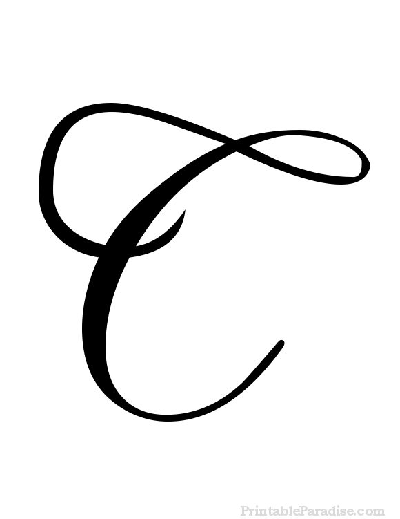 Download Free png Printable Letter C in Cursive.