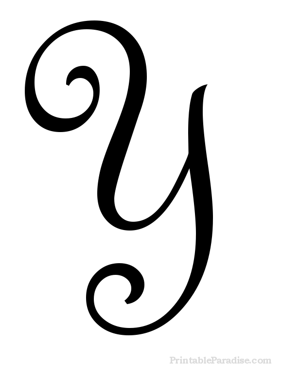 Printable Letter Y in Cursive Writing.