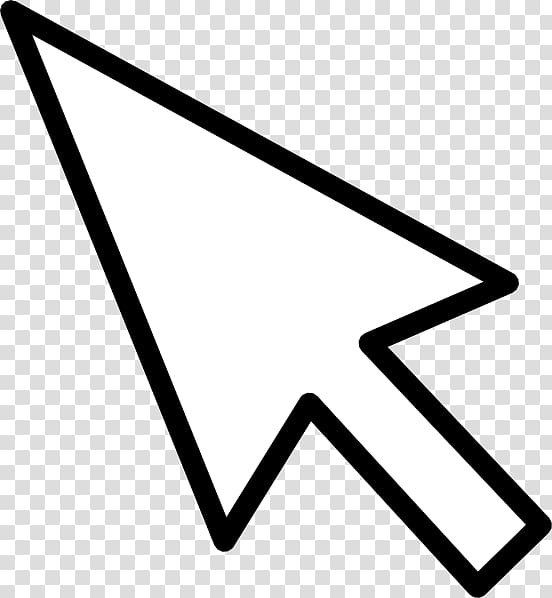 Computer mouse Pointer Arrow , Mouse Cursor , white arrow on black.