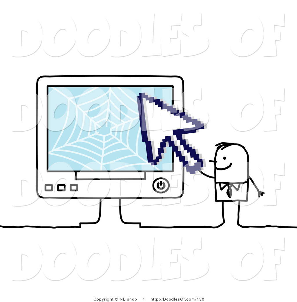 Vector Clipart of a Stick Figure Person Business Man Holding a.