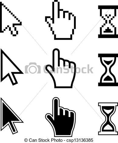 Vector of Pixel cursors icons. Hand Arrow Hourglass.