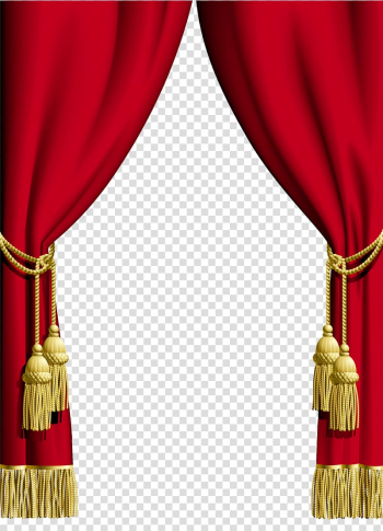 Red and yellow stage curtain border, Window Curtain rod.