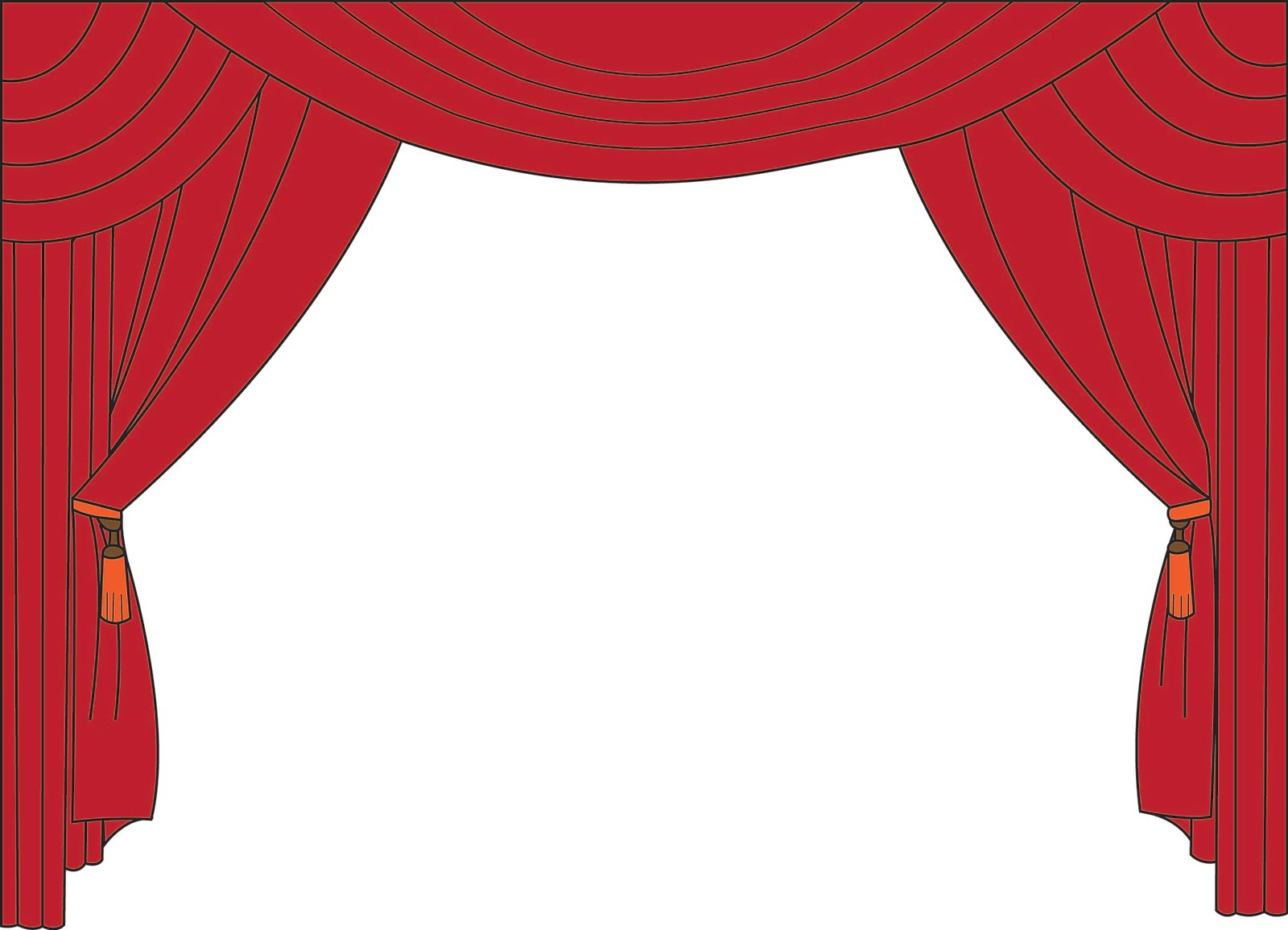 red theater curtain clipart #11