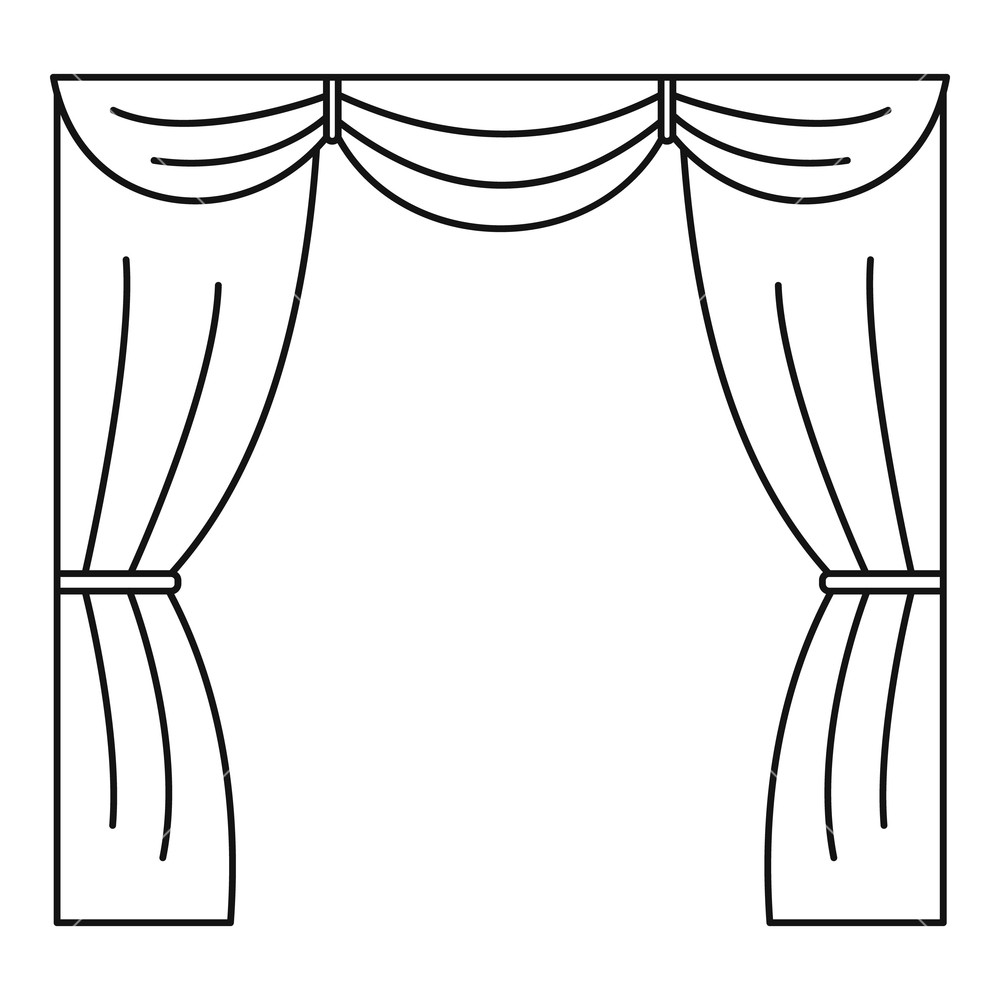Curtains clipart black and white, Curtains black and white.