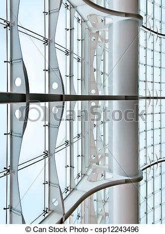 Stock Photographs of Glass curtain wall of a modern architecture.