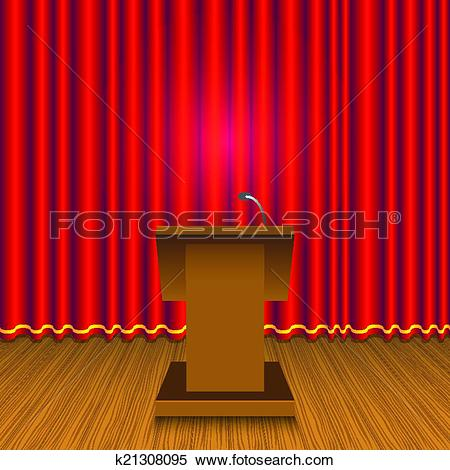 Clipart of Podium and red curtain wall k21308095.