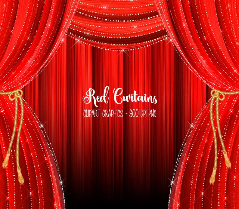 Red Curtains Clipart, red curtain backdrop clip art graphics, stage  curtains, theater curtains, red and gold drapes, overlays, backgrounds.