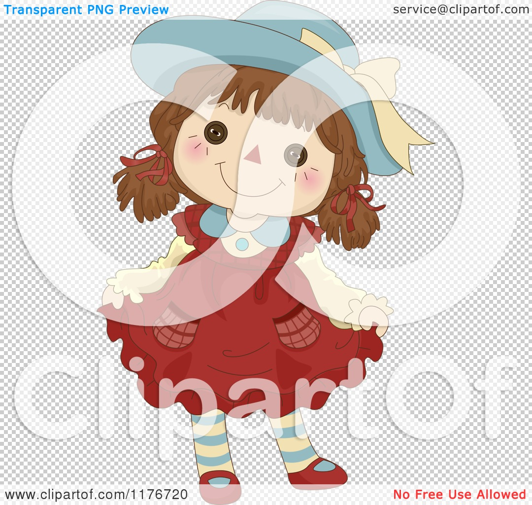 Cartoon of a Happy Female Rag Doll Doing a Curtsy.