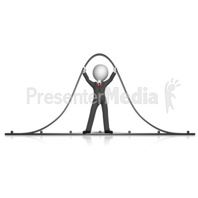 Business Figure Holding Up Bell Curve.