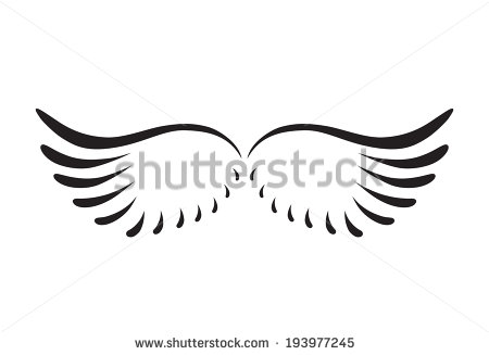 Black Abstract Silhouette Curved Angel Wings Stock Vector.