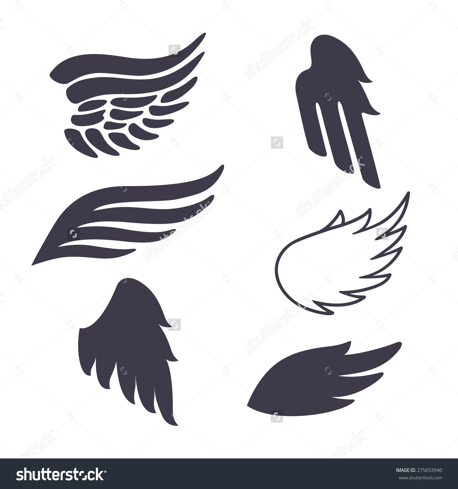 Set Six Vector Silhouettes Wings Elements Stock Vector 275653940.