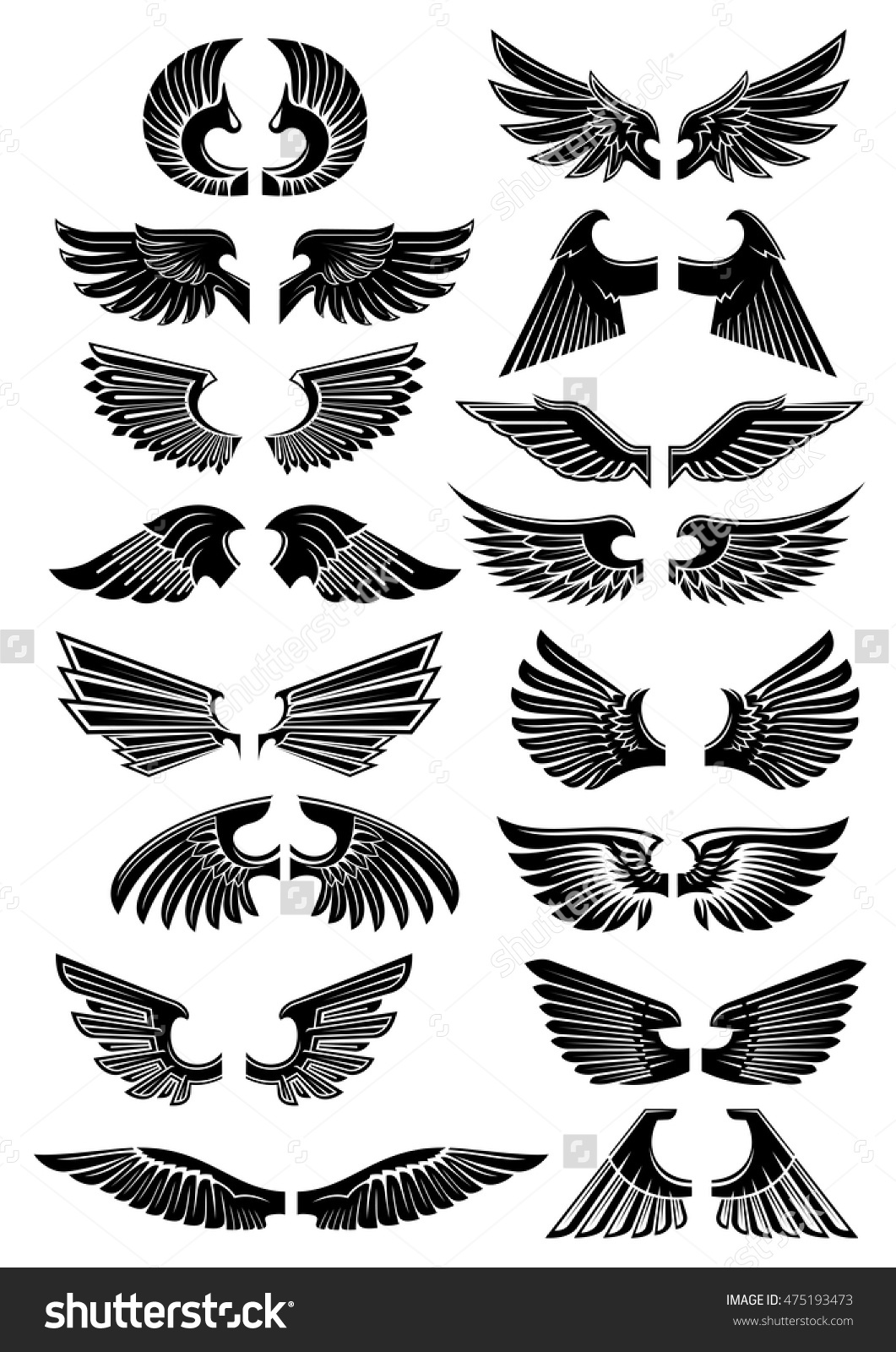Wings Heraldic Icons Birds Angel Wings Stock Vector 475193473.