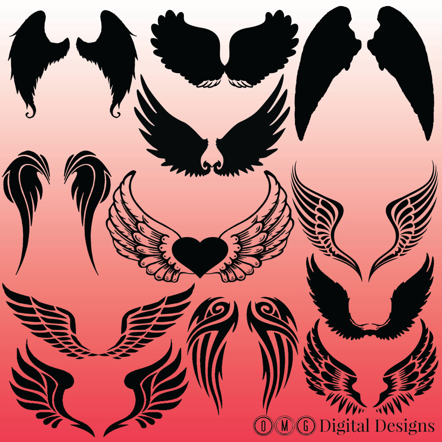 Wings silhouette collection (angel, wing, tribal).