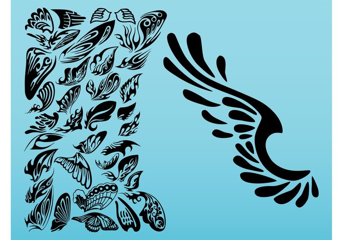 curved angel wings silhouette clipart #16