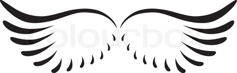 Black abstract silhouette of curved angel wings.