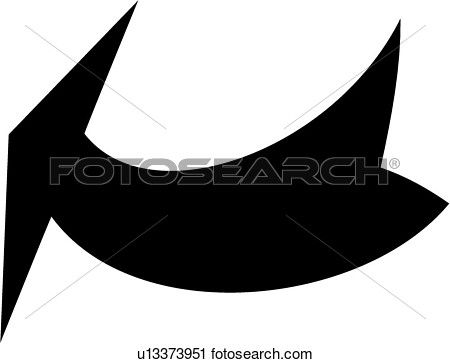 Curved arrow clip art black and white.