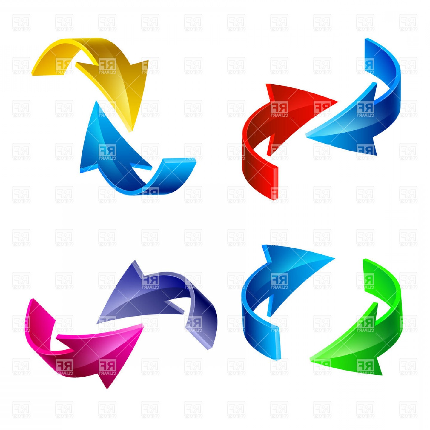 Curved Arrows Collection Vector Clipart.